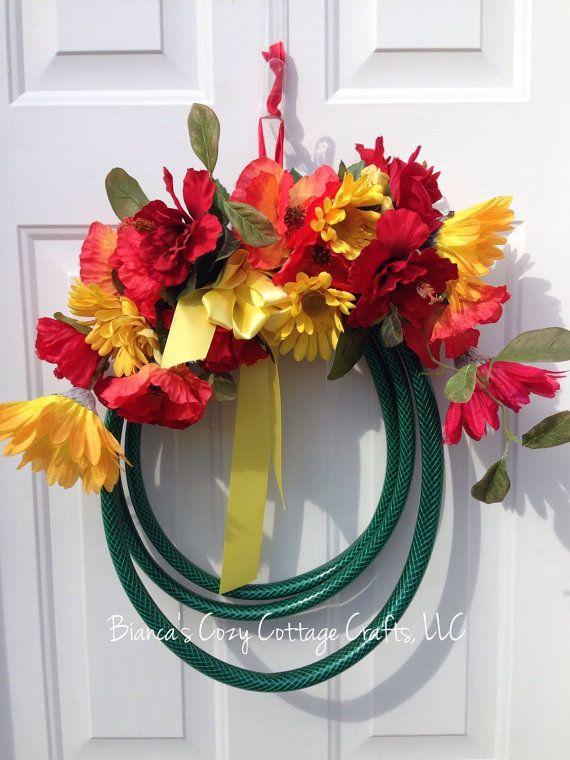 Garden hose wreath summer wreath front door by BsCozyCottageCrafts