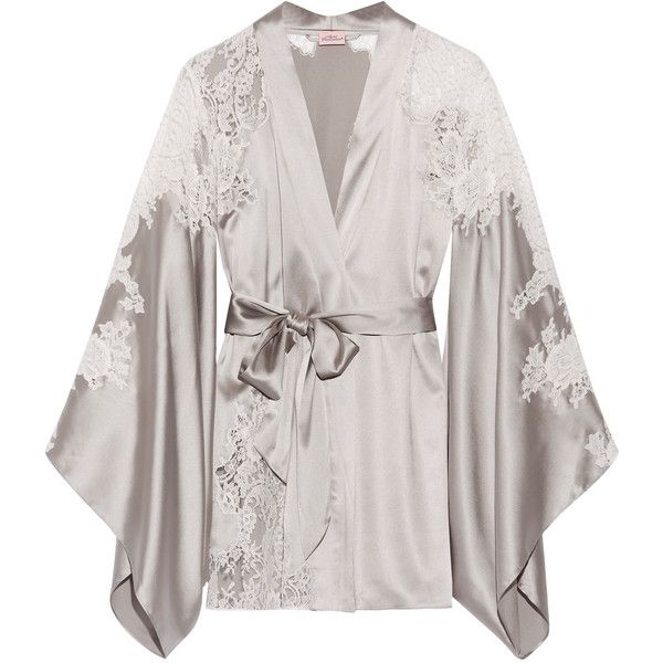 Agent Provocateur Nayeli Leavers lace-paneled silk-blend satin robe ($763) ❤ liked on Polyvore featuring intimates, robes, pajamas, silver, white lingerie, bath robes, dressing gown, satin kimono and holiday lingerie