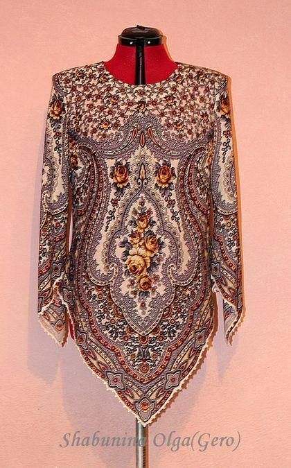 Купить Туника женская из Павловопосадского платка - серый, орнамент, туника, изделия из платка, павловопосадский платок