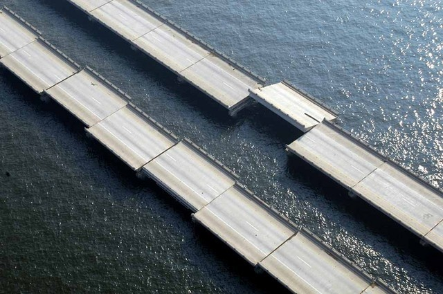 The eastern section of the I-10 Causeway was battered and tossed to and fro by the winds and waters of Hurricane Katrina.