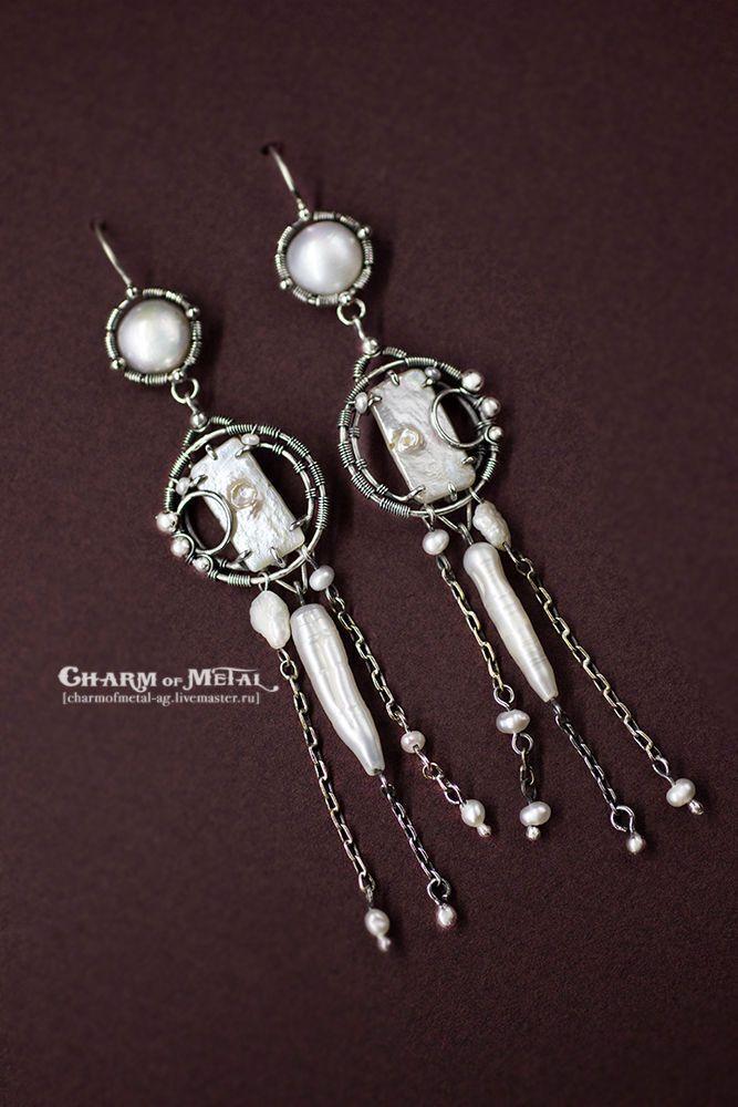 """Купить """"NewMoon"""" Серебряные серьги - украшение, подарок девушке, подарок женщине, серебро, wire, wrap"""