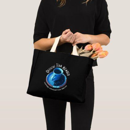 Team Member   Blue Coffee Cup and Saucer Photo Mini Tote Bag - coffee custom unique special