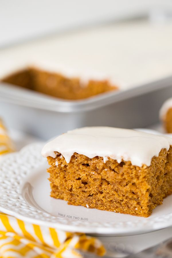 This pumpkin spice sheet cake is moist and has the most delightful flavors of Fall; it is topped of with a creamy cream cheese frosting layer!