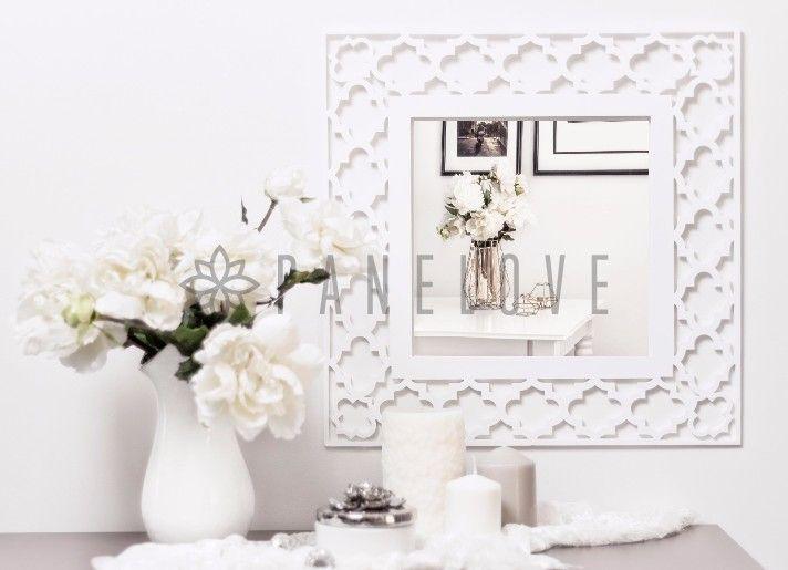 Biała ażurowa rama marokańska (panel dekoracyjny) do luster IKEA o śr. 47cm