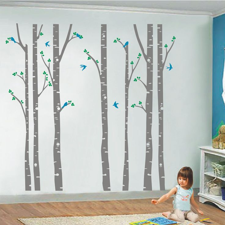 Modern Wall Sticker Birch Tree Birds Vinyl Wall Art Decals Removable Home Decor Wall Stickers Baby Nursery Bedroom Decoration-in Wall Stickers from Home & Garden on Aliexpress.com | Alibaba Group