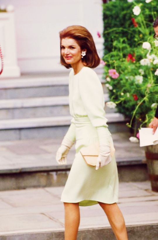 Jacqueline Kennedy Onassis attends the wedding ceremony of Caroline Kennedy and Edwin Schlossberg in 1986.
