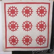 Pretty Pink 1930s Sunflower Applique Antique QUILT 82 x 81 Cottage CRISP
