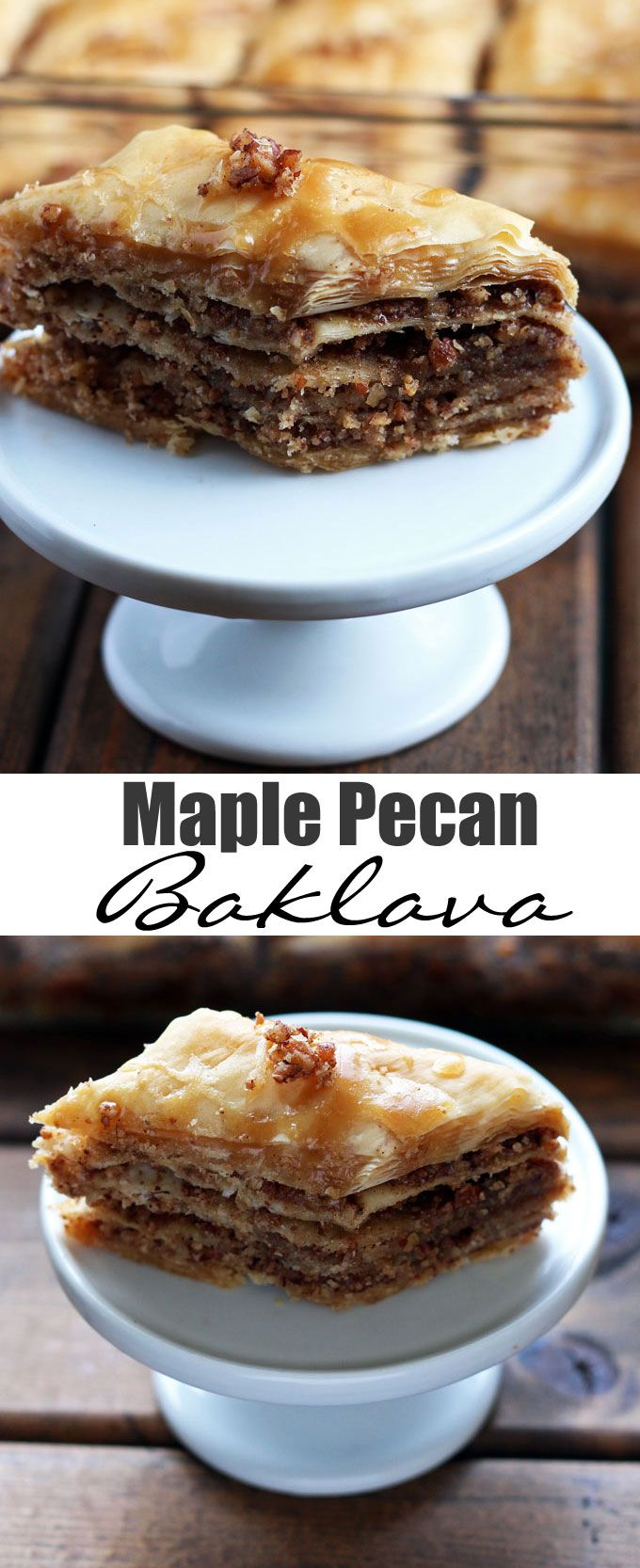 Maple Pecan Baklava - crisp phyllo dough layers with toasted pecans soaked in aromatic maple syrup. This baklava version is refined sugar-free.