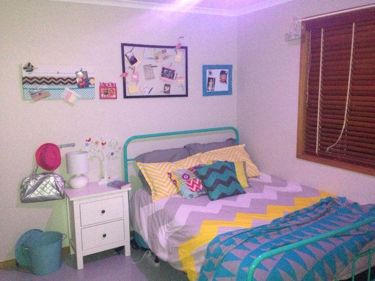 Teal, yellow, bedroom
