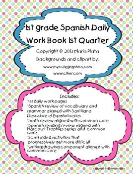 This work book includes: -44 pages (one for each day of the first quarter) -Spanish practice for vocabulary and grammar aligned with Santillana's Descrube el Espanol (countries reviewed- Mexico and Nicaragua) -Follow me to stay updated as I will be working on quarters 2-4 throughout the summer.