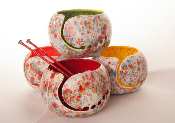 Spaß-Fetti Keramik Garn Schüssel wählen Ihre Innenseite Farbe - handgefertigt in meinem Studio Charleston, SC