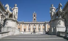 I Dioscuri, Campidoglio, Roma. Copie di statue romane che rappresentano i due gemelli Castore e Polluce. Furono ritrovate nel 1560 all'interno del Ghetto e dovevano fare parte di un tempio dedicato a loro.