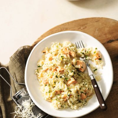 Zesty salmon & parsley risotto
