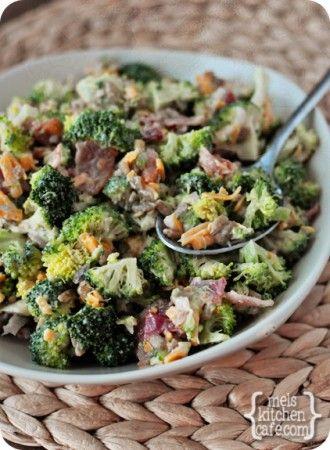 The Best Broccoli Salad (mayo, sugar, balsamic vinegar, broccoli, raisins, sunflower seeds, shallot or red onion, cheddar cheese, bacon.)