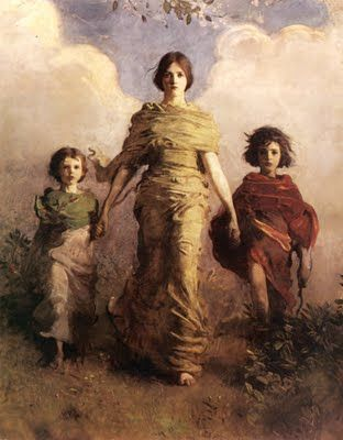 """Mary, Jesus and John the Baptist"" by Abbott Handerson Thayer, American artist, naturalist and teacher, 1849-1921"