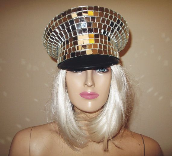 Disco Ball Mirror Officers Hat  Handcrafted with 1/2 glass mirror mosaic tiles. Costume Accessory ONLY *Item is glass and should not be used for
