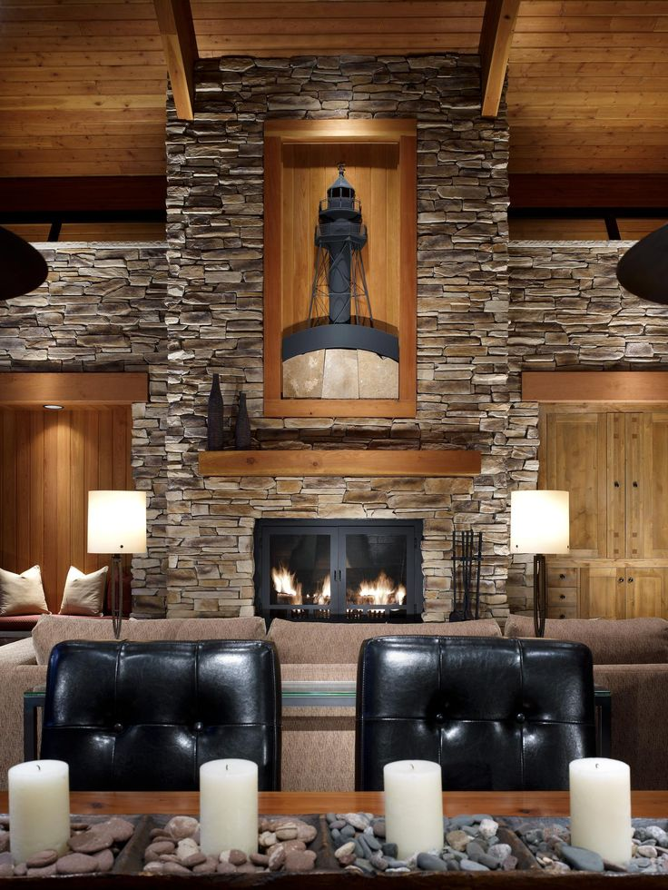 Luxury Cabin Dining Room And Living With Dry Stack Stone Accent Wall Fireplace