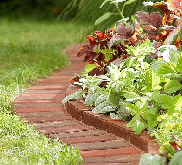Cool brick edging. You can run the wheel of the lawn mower on it so you dont have to use the weed wacker!
