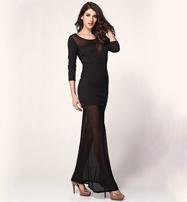 Vilanya Plunging Mesh Maxi Dress