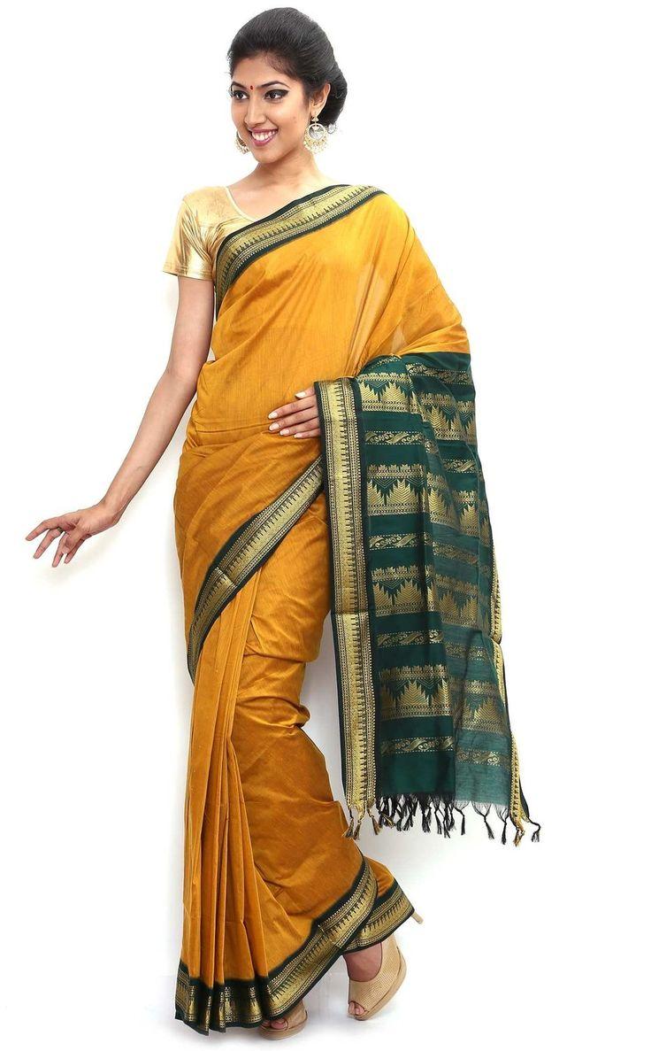 Sudarsahan Silks South Karantaka Span Cotton Silk Saree [SBTI1_Mustrad]: Amazon.in: Clothing & Accessories