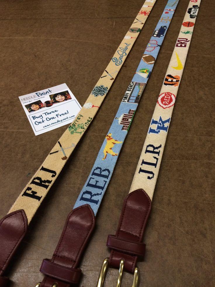 Custom Needlepoint Belts by NeedlePaint  http://www.needlepaint.com/needlepoint-belts/
