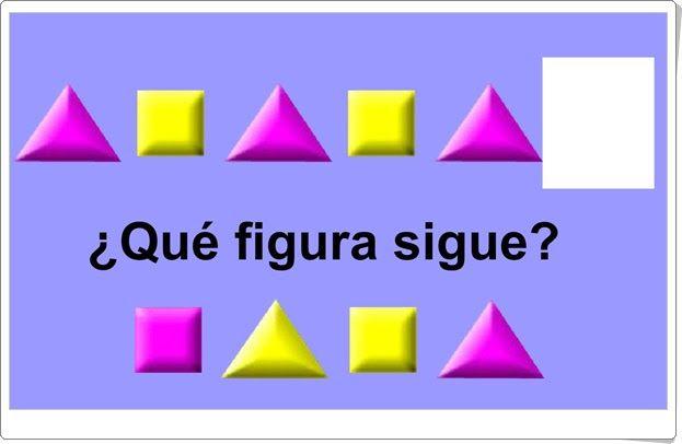 """Juegos educativos de Matemáticas online: """"¿Qué figura sigue?"""" (Juegosarcoiris.com)"""
