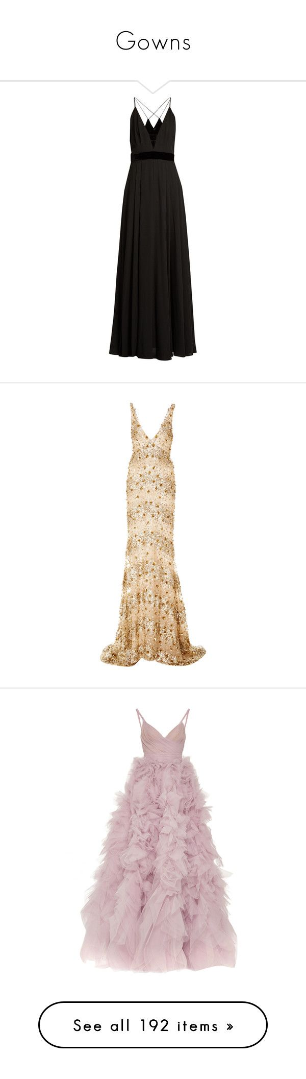 """""""Gowns"""" by isthelastofus ❤ liked on Polyvore featuring dresses, gowns, black, evening dresses, v neck dress, v neck evening gown, metallic evening gowns, special occasion dresses, long dresses and gold"""