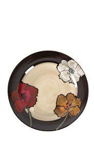 FLOWER PRINTED STONEWARE DINNER PLATE