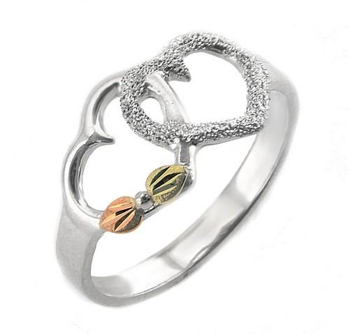 Ezüst Ékszerek | Black Hills Ezüst és 12K Arany Gyűrű Dupla Szívvel 54
