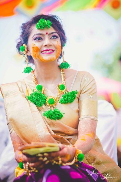 Gota Jewelry - Green Pom Pom Gota Jewlery   WedMeGood #wedmegood #indianbride #indianwedding #gotajewlery #pompoms #beige #Jewlery #mehendijewelry