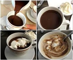 I like it so much am including two photos - hot chocolate at Angelina's Cafe in Paris.