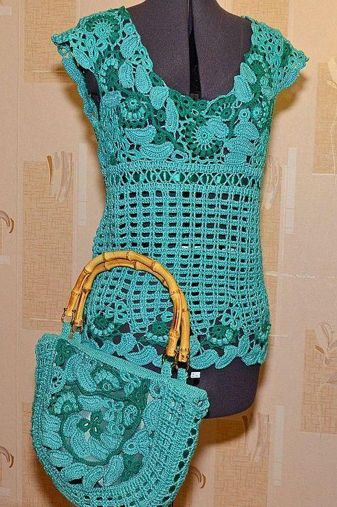 Irish crochet top & purse