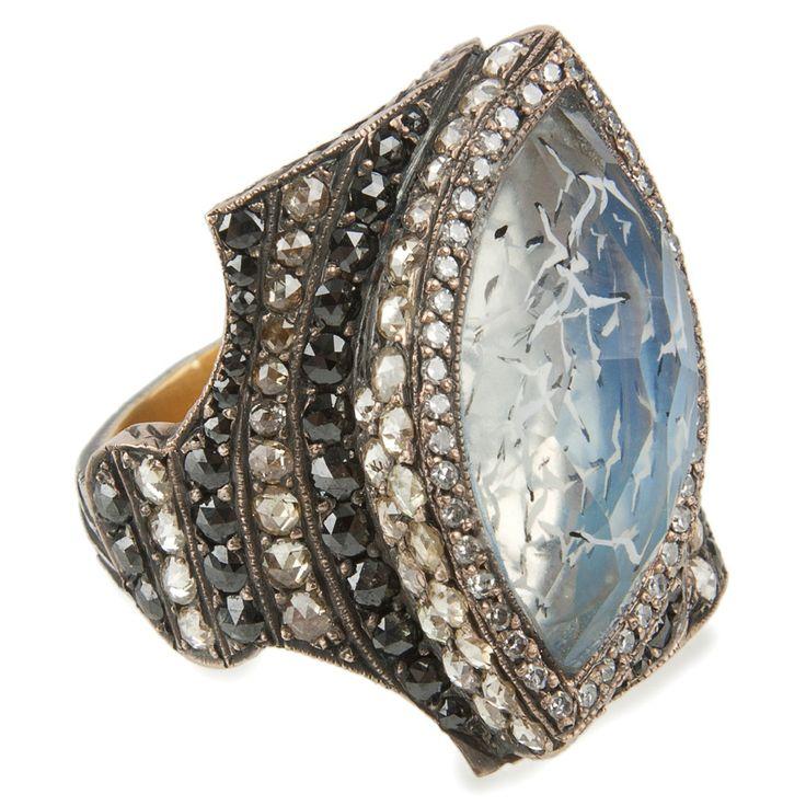 Hirshleifers - Sevan Bicakci  - Seagull Carved Amethyst Ring (Rose Gold/Amethyst/Black