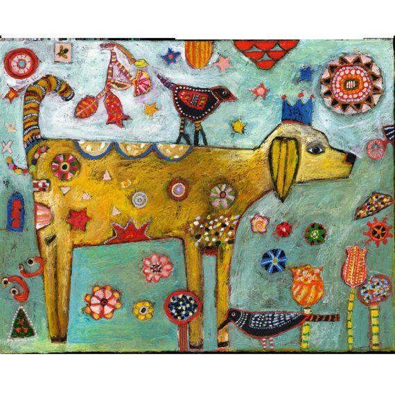 Fun folk art dog / Jill Mayberg... pet painting idea