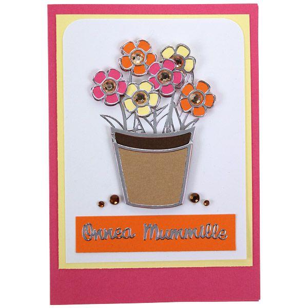 Kaunis kukkaruukkukortti mummille ääriviivatarrojen avulla. Koristeena akryylitimantteja. Tarvikkeet ja ideat Sinellistä!