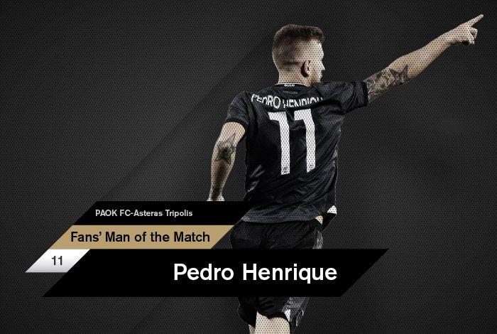 Ο Πέδρο Ενρίκε αναδείχθηκε, από τους χρήστες του paokfc.gr και του PAOK FC Official App, ως ο Fans' Man of the Match της αναμέτρησης κόντρα στον Αστέρα Τρίπολης στο γήπεδο της Τούμπας.