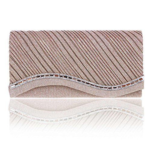 New Trending Shoulder Bags: Damara Womens Radian Hem Pleated Glitter Evening Bags,Champagne. Damara Womens Radian Hem Pleated Glitter Evening Bags,Champagne  Special Offer: $16.59  288 Reviews Evening party glitter style clutch with glistening rhinestones that will make you glow during your special occasion. Flap over with dazzling crystal detail,hold on any occasion.Inside...