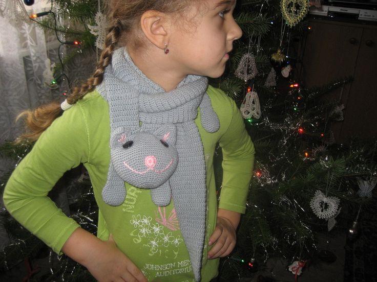 Kočička - dětská háčkovaná šála