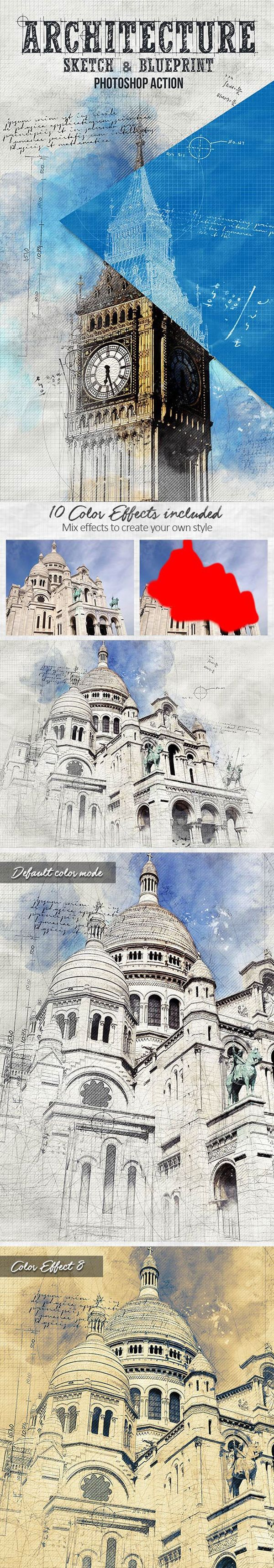 Architecture Sketch and Blueprint Photoshop Action #digitalphotography #photoeffect #photoshopactions #tutorials