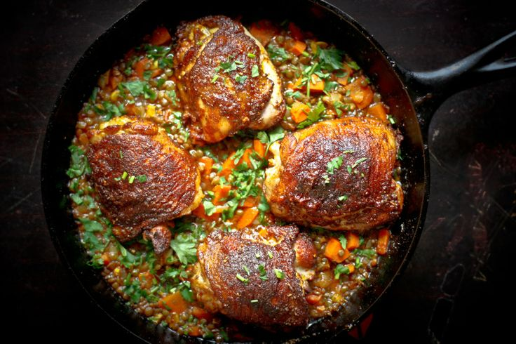Crispy Berbere Chicken with Ethiopian Lentils - cookin for the hubs tonight
