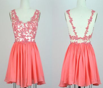 Coral Homecoming Dress,Homecoming Dresses,Lace Homecoming Gowns,Short Prom Gown,Glamorous dress