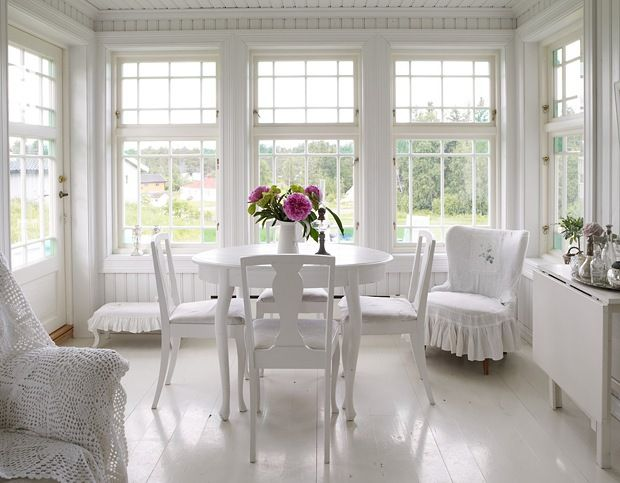 Awesome Romantic White House Of Natural Wood : Romantic White House Of  Natural Wood With White Chair Table Sofa Flower Decor And Big Window And  Hardwood ...