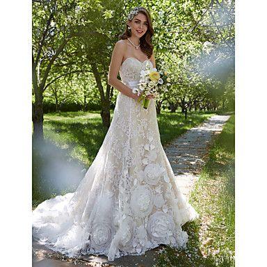 LAN+TING+BRIDE+Linha+A+Vestido+de+casamento+-+Elegante+e+Luxuoso+Sem+costas+Cauda+Corte+Coração+Renda+com+Flor+Faixa+/+Fita+–+EUR+€+274.39