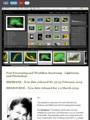 New dates released for my Brisbane and Melbourne Post Processing Bootcamps. Please check them out :-)