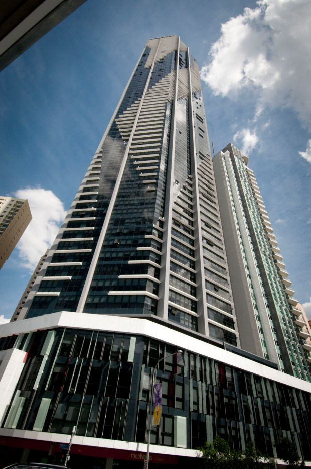 Soleil (2012-2014) at 495 Adelaide Street, One of two Meriton-branded skyscrapers that bookend Brisbane's CBD, the 251-metre Soleil is built on a small 1500-square-metre block at the northern end of Adelaide Street. The 74-storey building, designed by DBI Design, contains 464 units and serviced apartments under Harry Triguboff's Meriton brand. Soleil joins The Infinity Tower, also a Meriton building and also designed by DBI, as a bookend to the CBD.