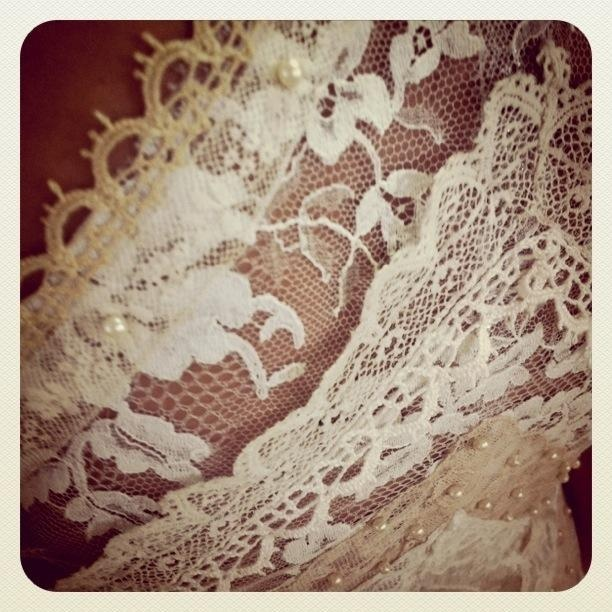 Dimity EcoBride detail:  Vintage edge laces stitched together to create a new fabric
