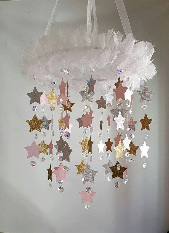 LARGE Crystal Star Crystal Chandelier Baby Pink by magicalwhimsy