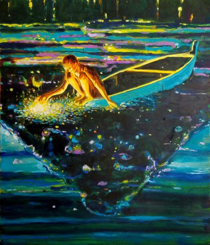 """Armando Mariño (Cuban, b. 1968, Santiago, Cuba, based NY, USA) - Fishing Dreams, 2016 Paintings: Oil on Canvas  """