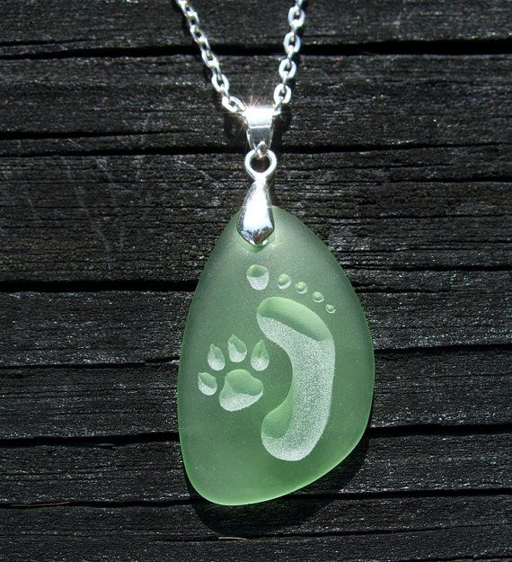 Footprint and Dog Paw Forever Friends engraved on Ocean beach Sea Glass pendant - choose your color