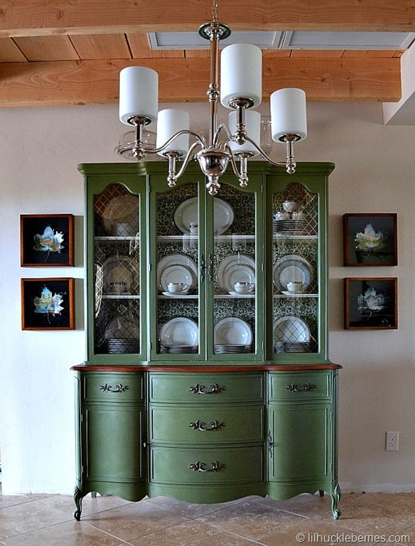 painted china cabinet - Boxwood in Miss Mustard Seeds milk paint line
